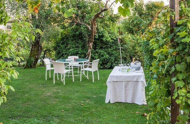příprava zahrady na párty